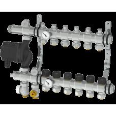Интегрированный коллектор Thermotech из нержавеющей стали со встроенным смесительным узлом на 7 контуров. 56207