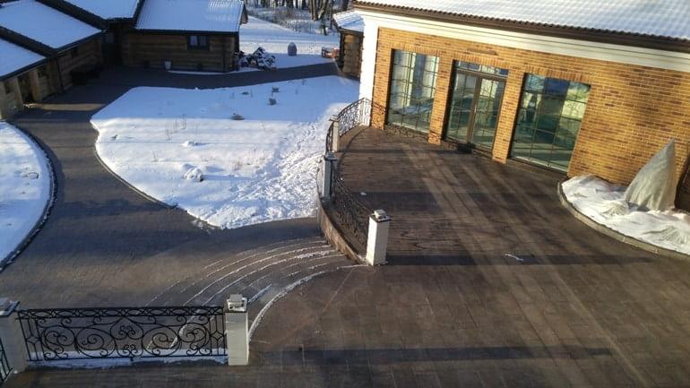 система снеготяния в работе